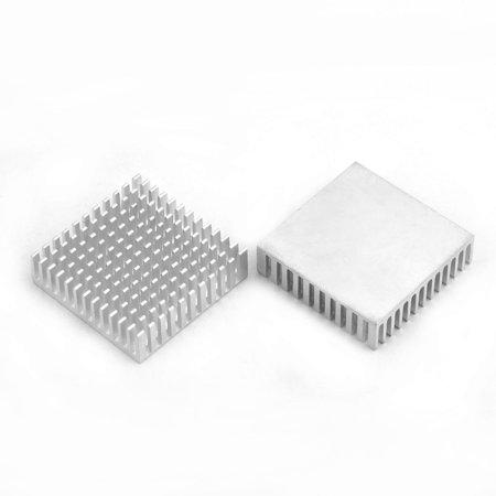 Aluminium Heat Diffuse Cooling Fin Cooler Silver Tone 40mm x 40mm x 11mm 2 Pcs - image 1 of 2