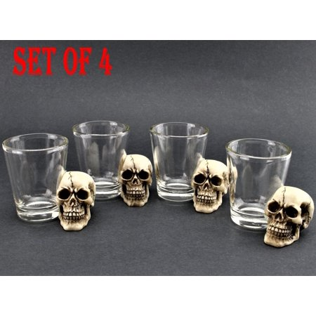 [ Set of 4] Unique Skull Shot Glass Skull Head Cup Spooky Pirate Shot for Wine Vodka Whiskey Cocktail, Party Bar - Simple Halloween Cocktails With Vodka