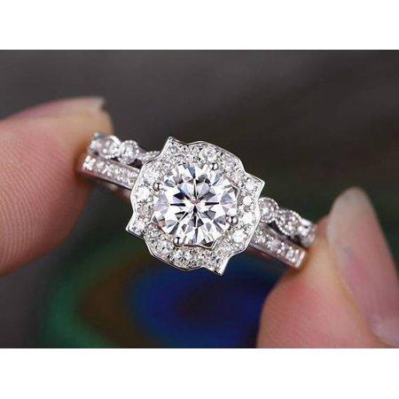 Round Moissanite Wedding Set (2 Carat Round cut Moissanite and Diamond Wedding Set in 18k White Gold Over Silver)
