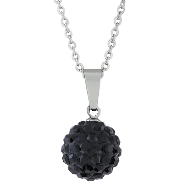 "Hot 12mm Round Black Pave Disco Ball Pendant With 18"" Stainless Steel Chain"