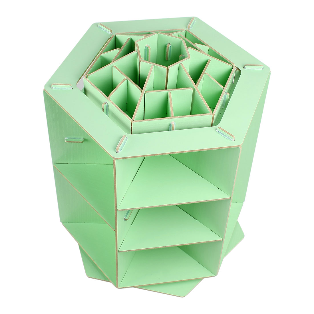 Unique Bargains Rotating Cosmetic Organizer DIY Makeup Box Holder Wooden Storage Case Green