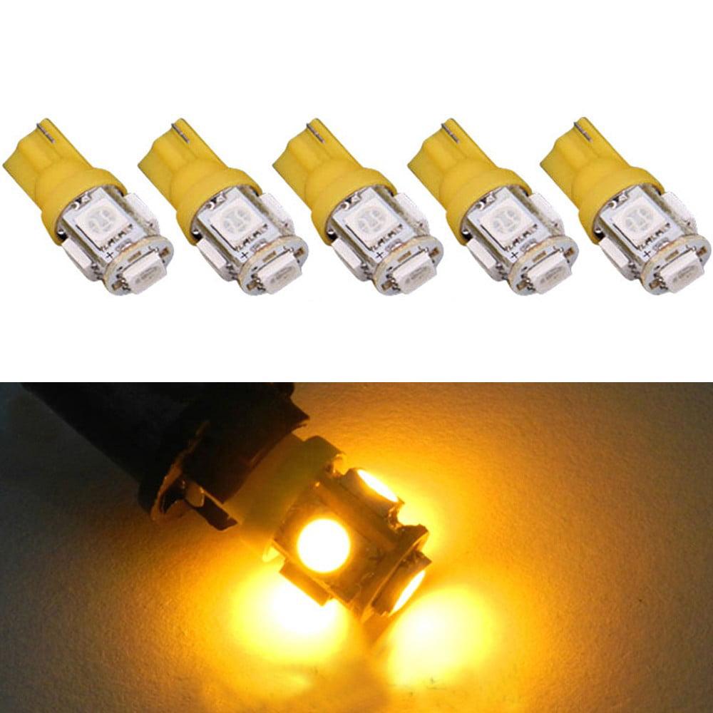 DZT1968 5PCS T10 5-SMD 5050 Xenon 3W LED Light Bulbs 192 168 194 W5W 2825 158 Warm