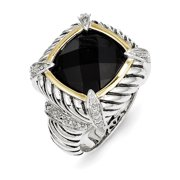 Sterling Silver w/14k Black Onyx & .02ct. Diamond Ring Size 6