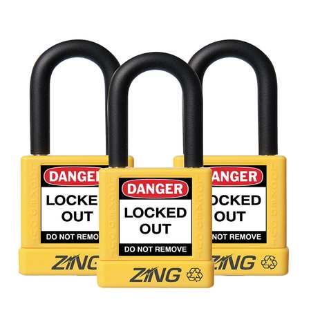 ZING 7068 Lockout Padlock, KA, Yellow, 1/4 In., PK3