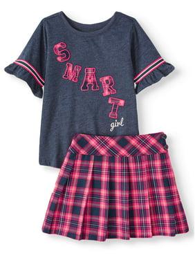 Garanimals Garanimals Short Ruffle Sleeve T Shirt & Pleated Twill Skort, 2pc Outfit Set (Toddler Girls)