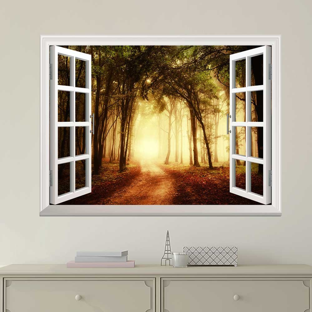 wall26 Modern White Window Looking Out Into a Road That Leads to a Bright Forest - Wall Mural, Removable Sticker, Home Decor - 24x32 inches