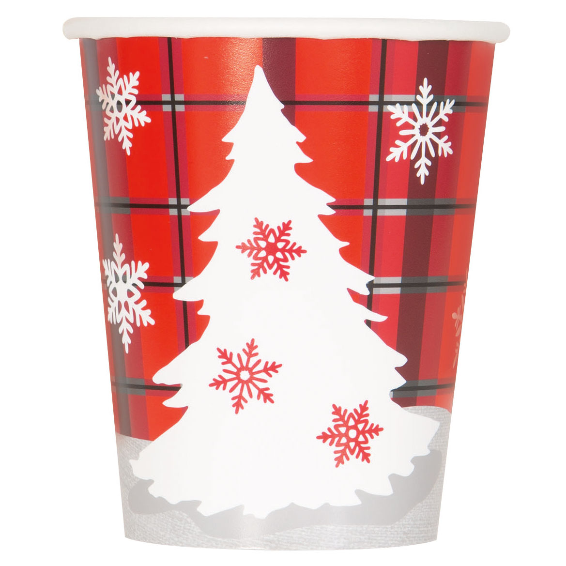 9oz Paper Rustic Plaid Christmas Cups, 8ct