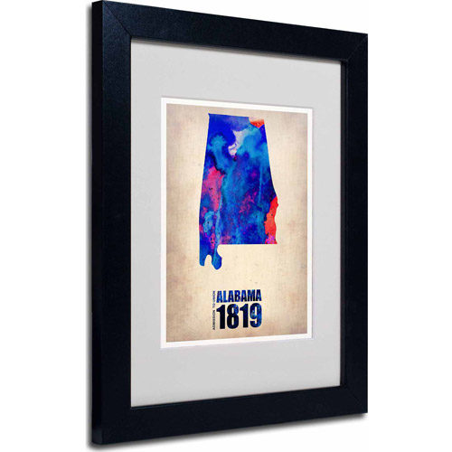 "Trademark Fine Art ""Alabama Watercolor Map"" Matted Framed Art by Naxart, Black Frame"