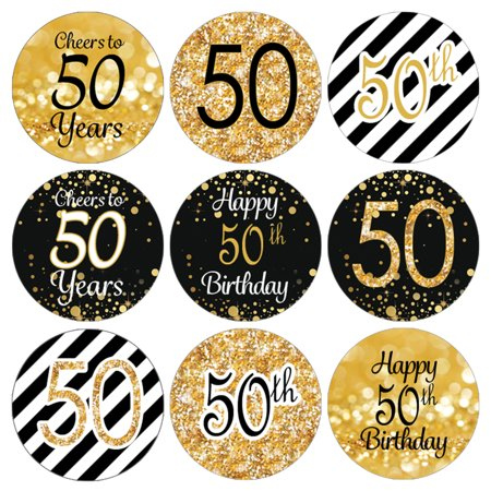 50th Birthday Party Favor Stickers | 216 Labels | Black and Gold Decoration - Gag Gifts 50th Birthday