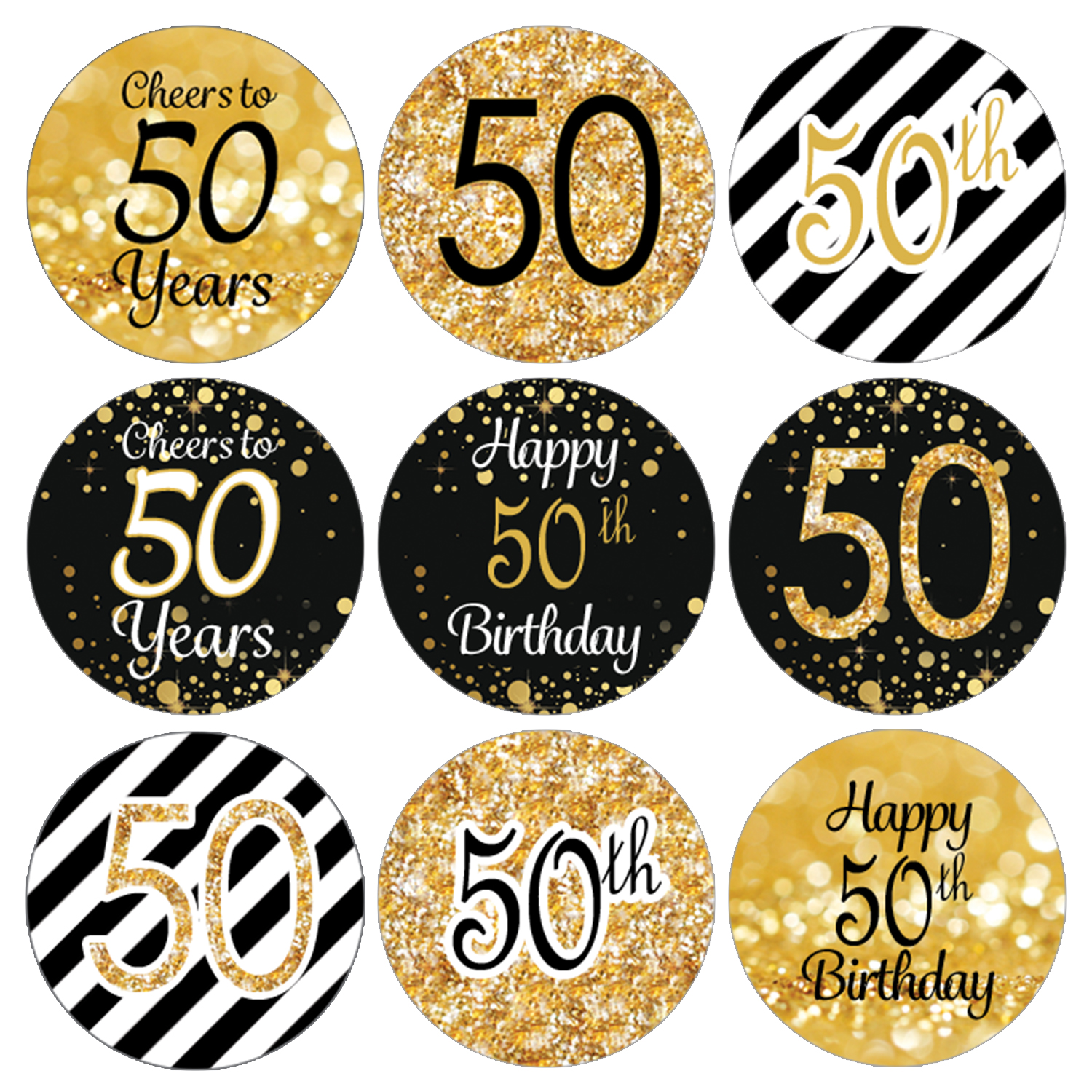 50th Birthday Party Favor Stickers | 216 Labels | Black and Gold Decoration Supplies