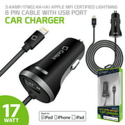 Cellet 17W/3.4Amp (2.4A + 1A) Apple Certified Lightning Cable with USB Port Car Charger for iPhone 7, 7Plus, 8, 8Plus , X - Black