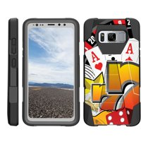 TurtleArmor ® | For Samsung Galaxy S8 Active G892 [Dynamic Shell] Dual Layer Hybrid Silicone Hard Shell Kickstand Case - Hand of Aces