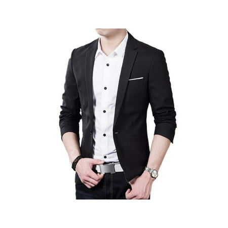 VICOODA Mens Blazer Casual Slim Fit Lapel Suit Jacket One Button Daily Business