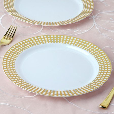BalsaCircle White Disposable Plastic Round Plates for Wedding Reception Party Buffet Catering Tableware