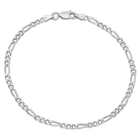 Real 925 Sterling Silver Nickel-Free Small 3mm Italian Figaro Chain Bracelet + Bonus Polishing Cloth 10mm Silver Figaro Bracelet