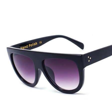 Flat Top Black Round Frame Sunglasses Kardashian West Oversized Khloe Kourtney