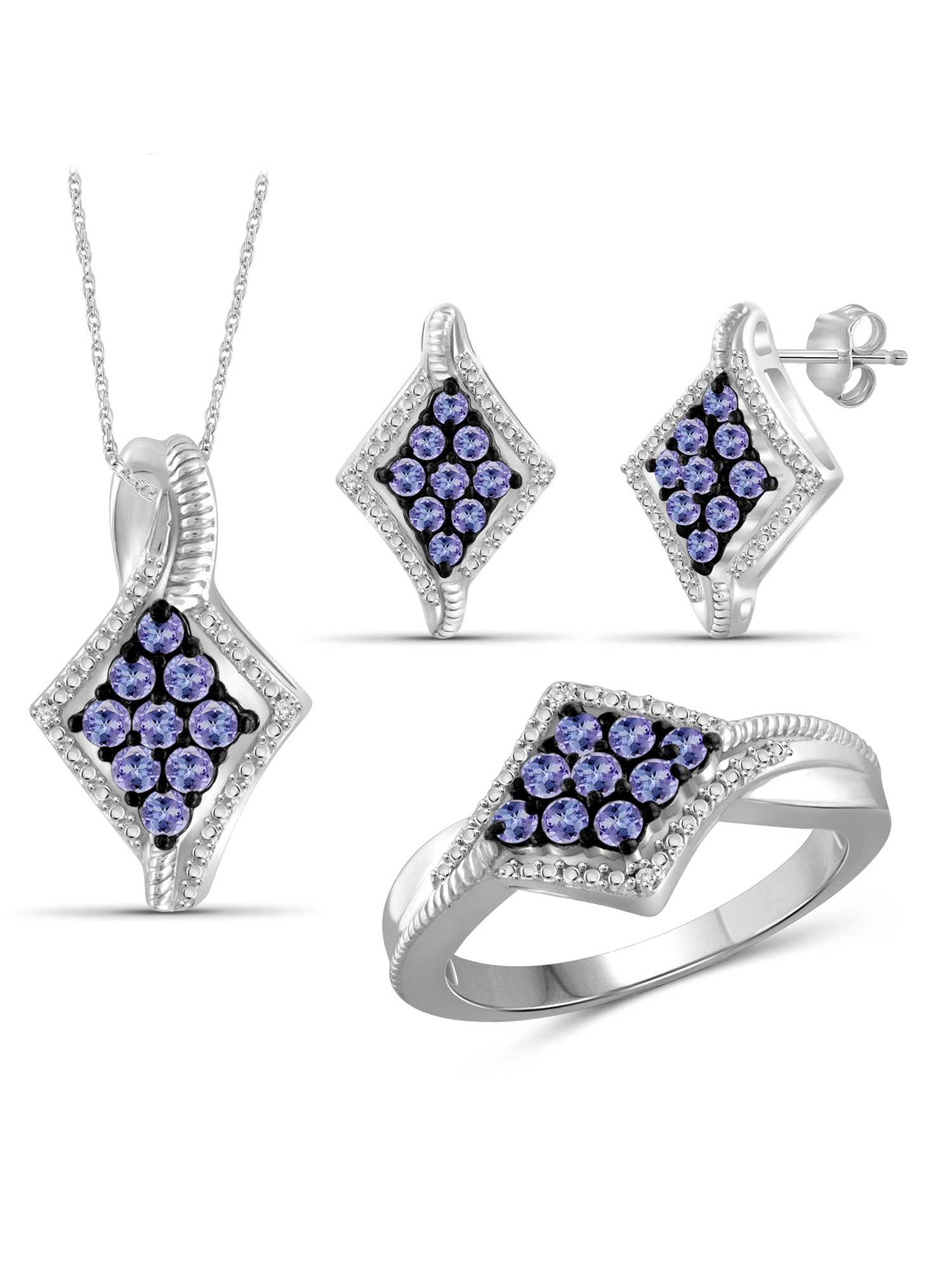 JewelersClub 1 1 2 Carat T.G.W. Tanzanite And White Diamond Accent Sterling Silver 3-Piece Kite Jewelry set by JewelersClub