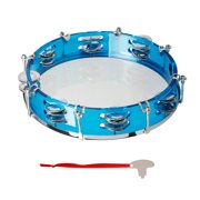 walmeck 10 Inch Hand Held Tambourine Double Row Tambourine Drum Set Percussion Instrument Musical Educational Toy Instrument for Church Performance Kids Adults with Tuning Key Blue