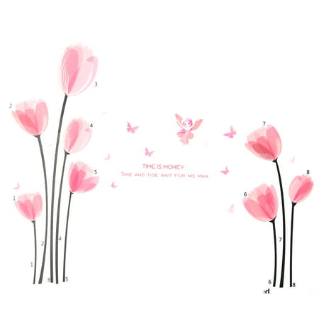 Bedroom PVC Flower Butterfly Print Decoration Removable Wall Sticker Decal