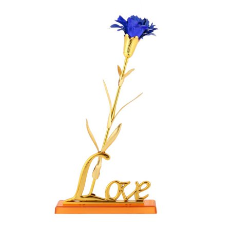 Marainbow 24K Foil Gold Plated Long Stem Artificial Carnations for Wedding Bouquets Centerpieces Arrangements Party Home Decor with base- Blue](Centerpiece Base)