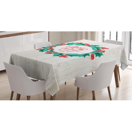 Christmas Decorations Tablecloth, Happy New Year Celebration Mistletoe Round on Wood Board Print, Rectangular Table Cover for Dining Room Kitchen, 52 X 70 Inches, Green Red Beige, by Ambesonne - Round Christmas Tablecloths