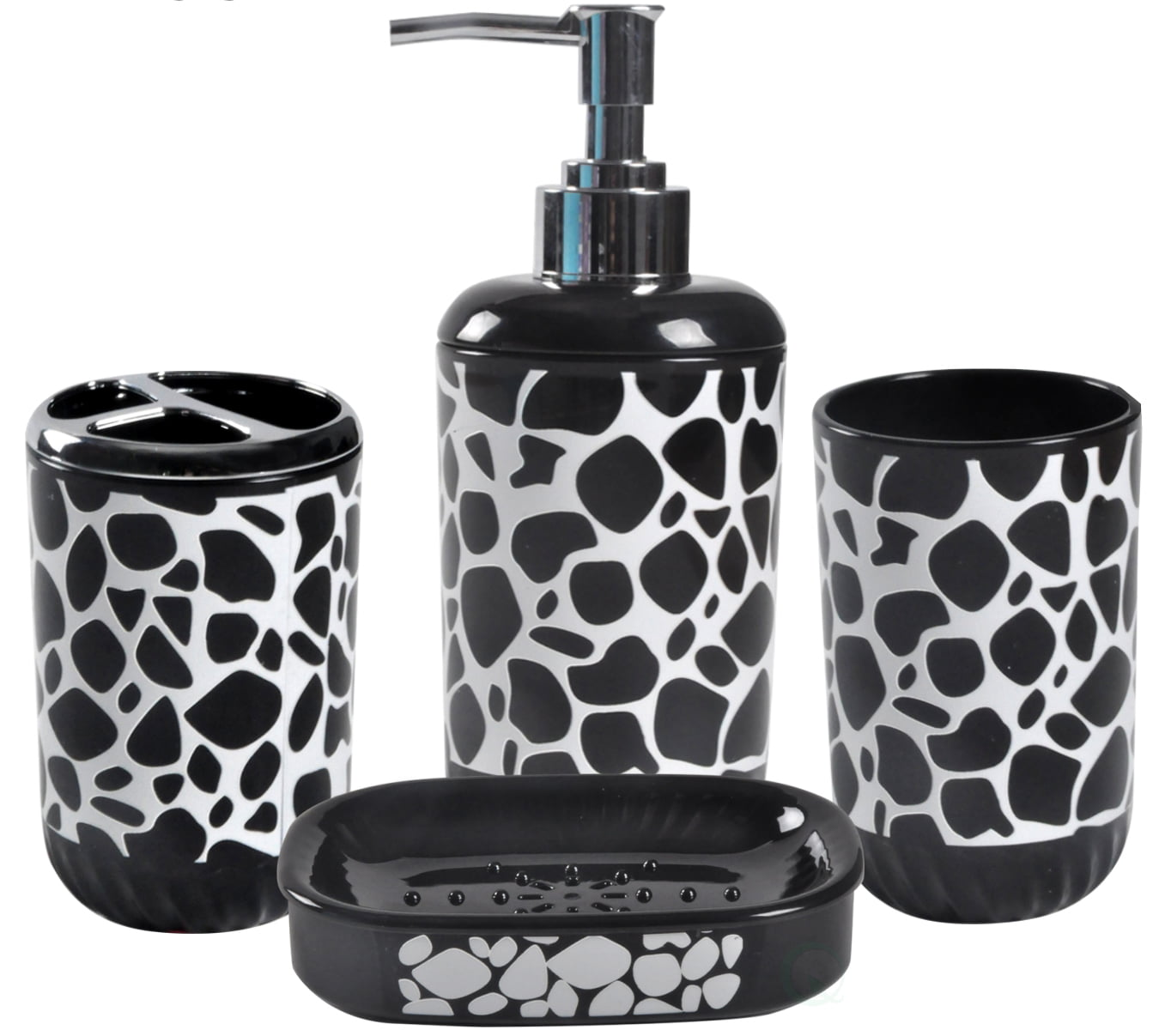 4 Piece Bathroom Accessory Set Includes Soap Dispenser, Toothbrush Holder, Tumbler, and Soap Dish by Quickway Imports Inc