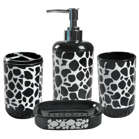 4 Piece Bathroom Accessory Set Includes Soap Dispenser Toothbrush
