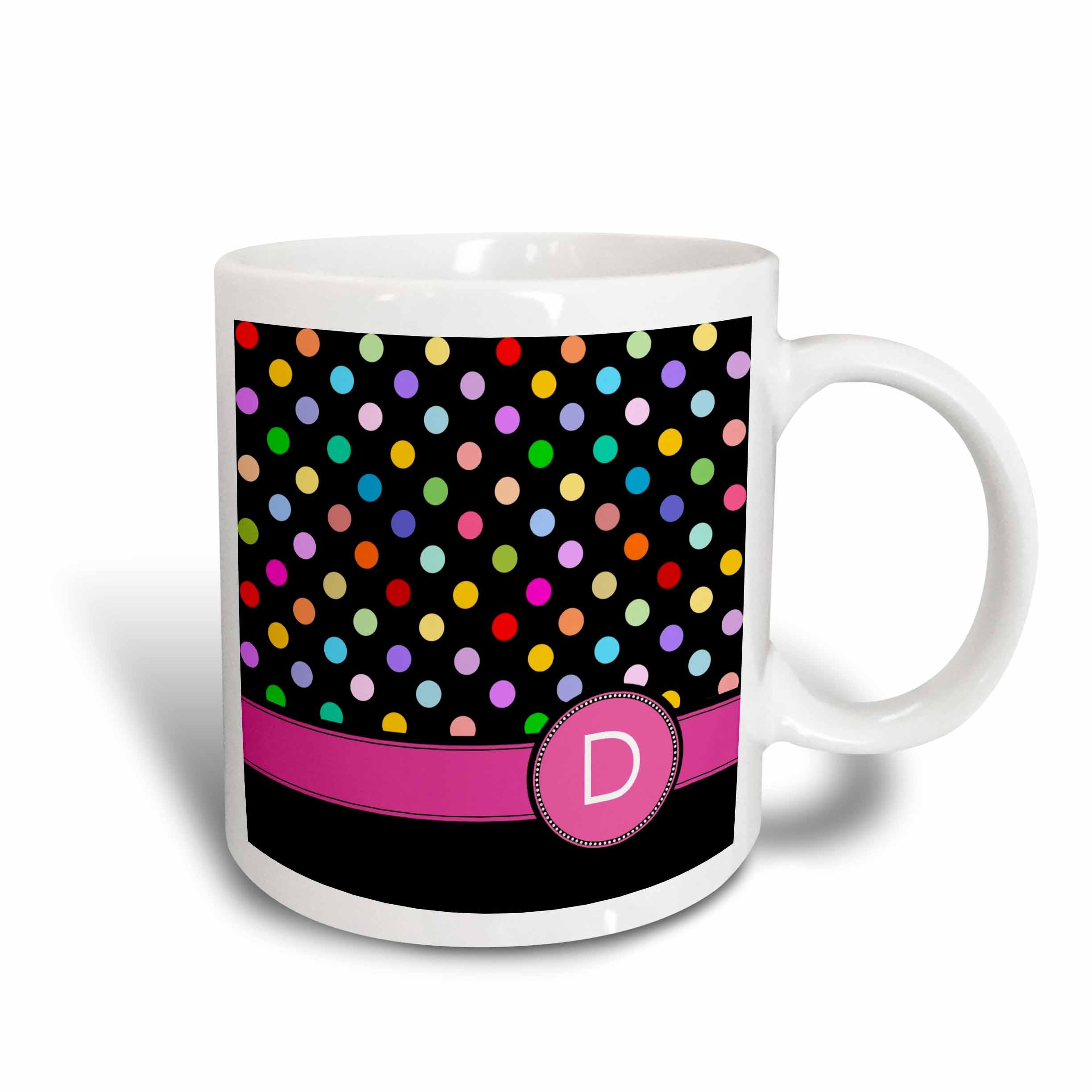3dRose Letter D monogrammed on rainbow polka dots pattern with hot pink personal initial - multicolored, Ceramic Mug, 15-ounce