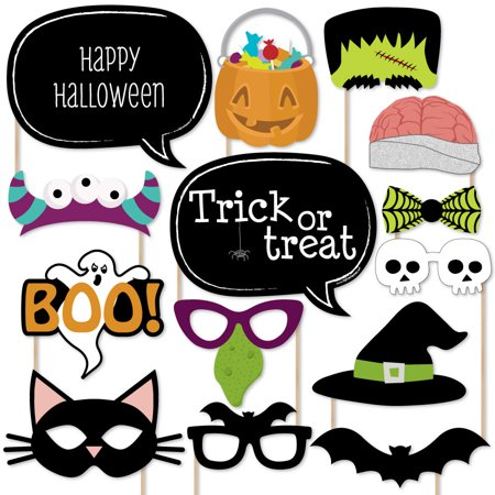 Trick or Treat - Halloween Party Photo Booth Props Kit - 20 Count