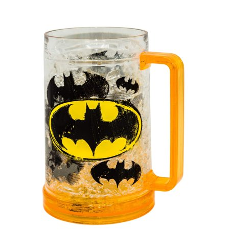 DC Comics BN12288T 16-Ounce Batman Logos Freeze Gel Plastic Drinking Stein, 16 Ounce Yellow Freeze Gel (Logo Plastic Mugs)