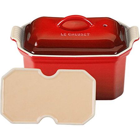 Vintage Le Creuset (Le Creuset Heritage Stoneware 3/4-Quart Pate Terrine with Press, Cerise)