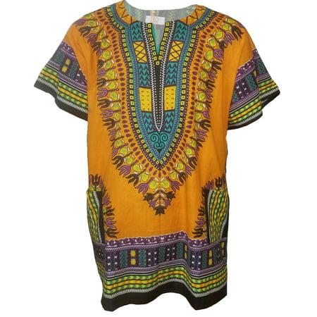 African Plum (Orange African Print Dashiki Shirt from S to 7XL Plus Size)