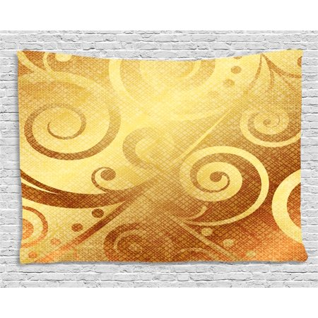 Modern Decor Tapestry, Vector Gold Canvas Design Floral Swirls Leaves  Decorative Image, Wall Hanging for Bedroom Living Room Dorm Decor, 80W X  60L