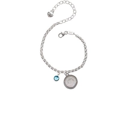 Crystal Hot Blue Channel Drop Nevertheless She Persisted Engraved Bracelet