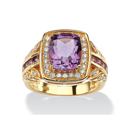 3 TCW Cushion-Cut Genuine Purple Amethyst and CZ Halo Ring in 14k Gold over Sterling Silver