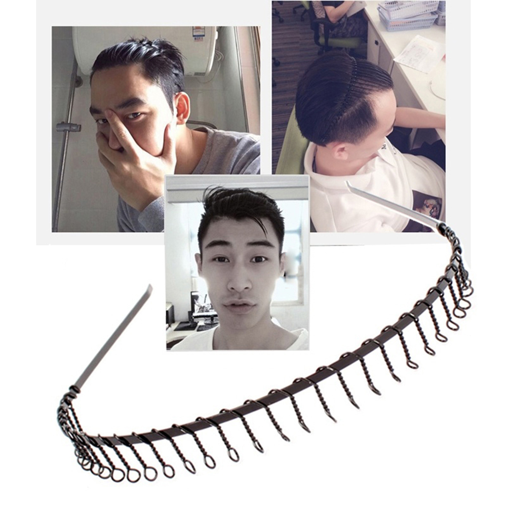 Girl12Queen 2Pcs Men Women Unisex 83 Teeth Metal Hair Head Hoop Accessories Sports Headband