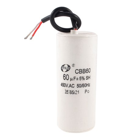 CBB60B Wired Cylindrical Motor Start Running Capacitor AC 450V 60uF 5%