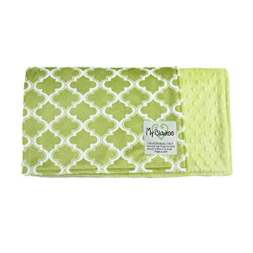 My Blankee Moroccan Mini Tile Minky Green w/ Minky Dot Ap...