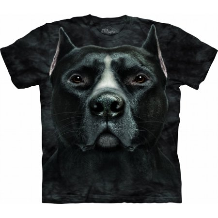 Adult Black 100% Cotton Black Pitbull Head T-Shirt (Pit Adult T-shirt)