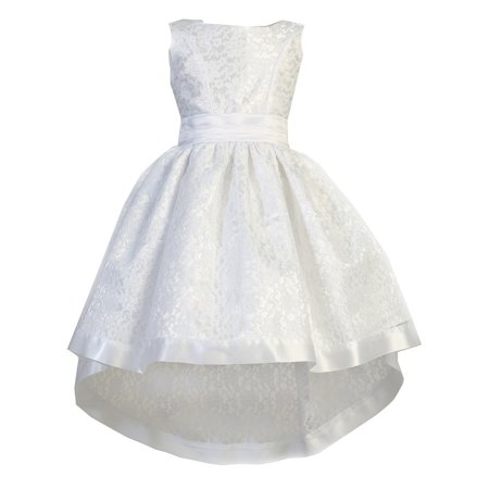Ellie Kids Girls White Lace Satin Sash Bow Hi-Low Flower Girl (60's Style Dance Costumes)