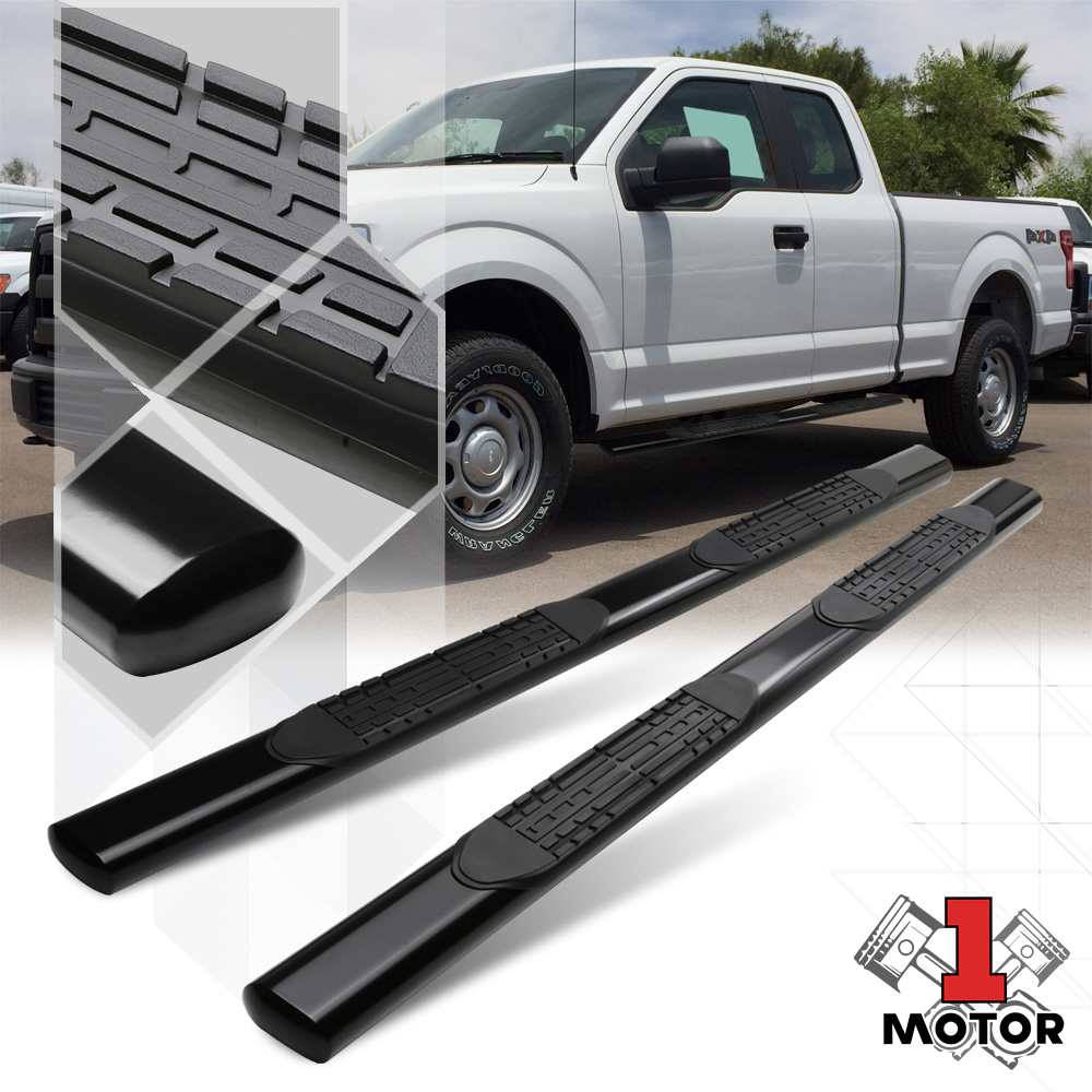 For 15-18 Ford F150//F250//F350 Super Duty Crew Cab Pair Black 5 inches Wide Oval Tubing Side Nerf Step Bar