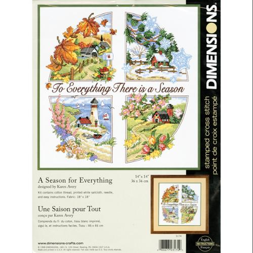 """A Season For Everything Stamped Cross Stitch Kit-14""""X14"""""""