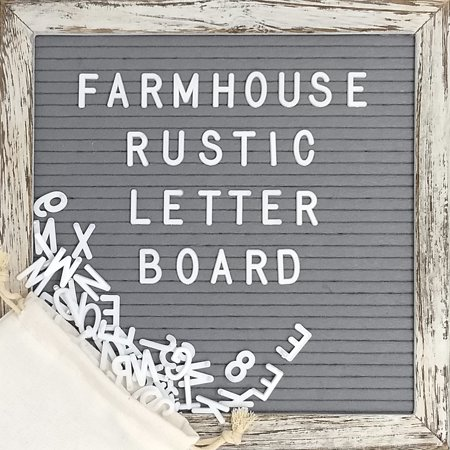 Felt Letter Board with 10x10 Inch Rustic Wood Frame, Script Words, Precut Letters, Picture Hangers | Farmhouse Wall Decor | Shabby Chic Vintage Decor | Grey Felt Message Board (Rustic Family Picture Frames)