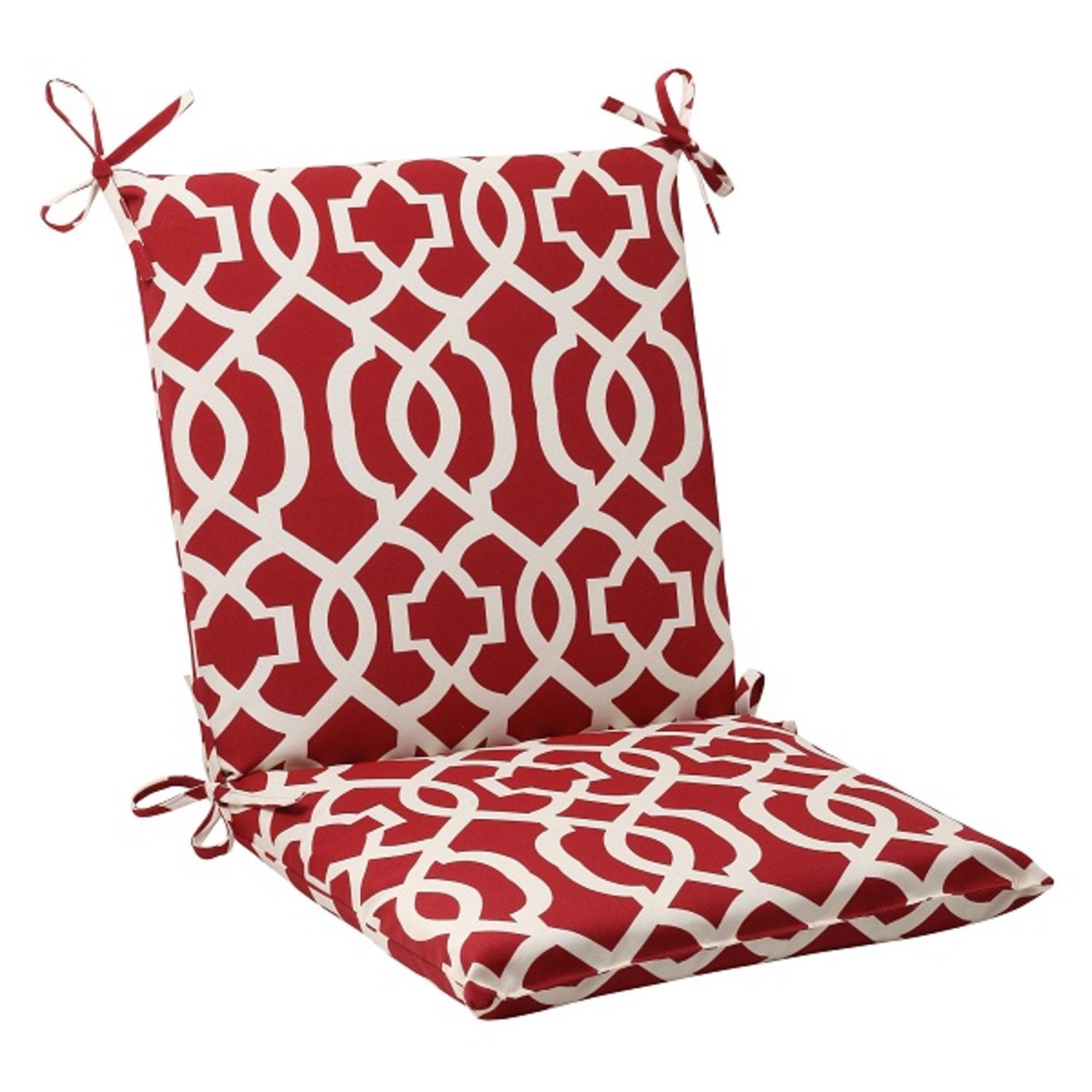 """36.5"""" Moroccan Mosaic Red Outdoor Patio Furniture Squared Chair Seat Cushion"""