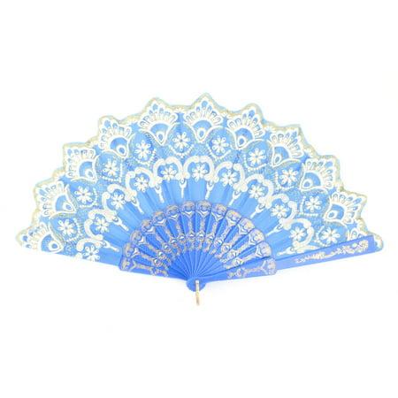 Feast Polyester Flower Pattern Chinese Style Handheld Folding Hand Fan - Blue Hand Fan