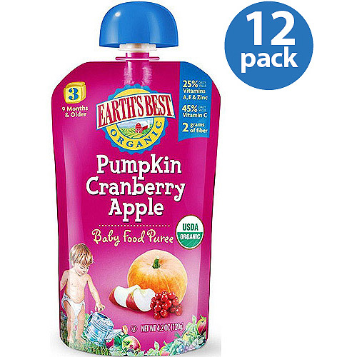 Earth's Best Organic Pumpkin Cranberry Apple Baby Food Puree, 4.2 oz, (Pack of 12)
