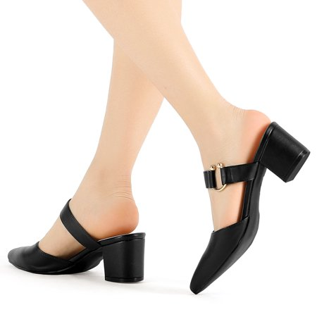 Women's Pointed Toe Chunky Heel Dress Mules Pumps Black US 9 - image 7 of 7