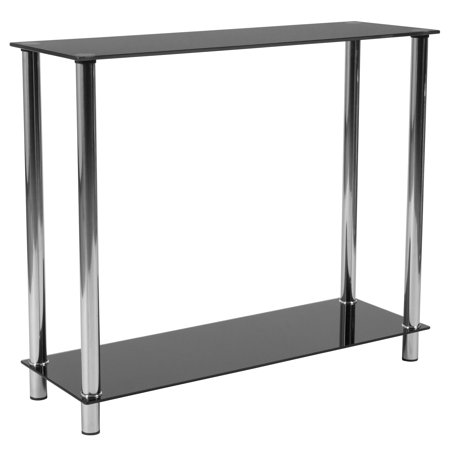 Flash Furniture Riverside Collection Black Glass Console Table with Shelves and Stainless Steel Frame ()