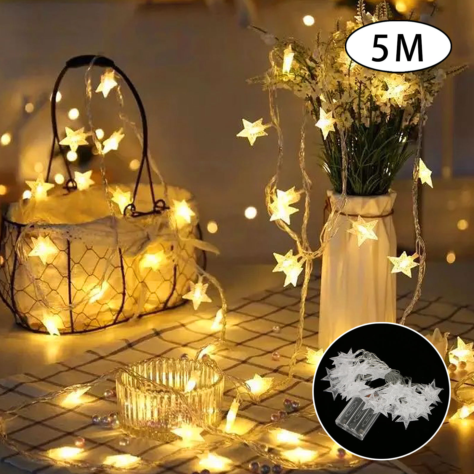 5M LED String Star Fairy Lights Battery Operated Waterproof Lamps for Bedroom Wedding Christmas Decor Warm White