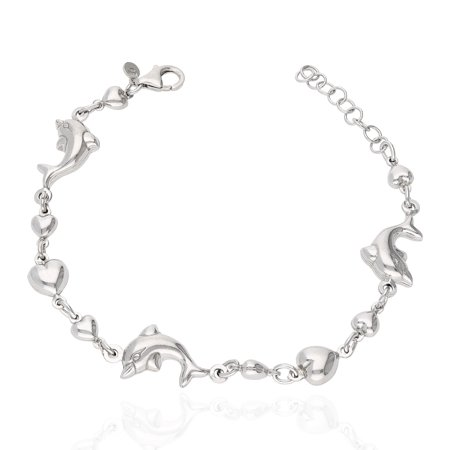 925 Sterling Silver Shiny Puffed Dolphin And Heart Adjustable Bracelet 7